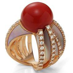 SpiderChantecler Anello incrocio in oro rosa,corallo rosso, e diamanti bianchi