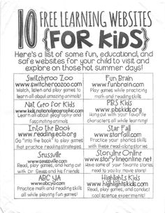 10 free learning websites for kids educational websites for kids, learning sites, fun learning Learning Websites For Kids, Educational Websites, Fun Learning, Learning Activities, Teaching Resources, Learning Sites, Classroom Websites, Summer Activities, Learning Tools