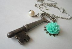 Frost Necklace with antique skeleton key vintage by TheArtSwallow, $26.50