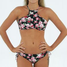 c94f22db12 Swimalicious CHARLOTTE – High Neck Bikini Tank Top + Tie Loop Side Pant in  Vintage Black Floral - Front View