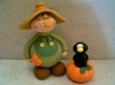 Large Scarecrow - Crow - Pumpkin - Fall Figurine