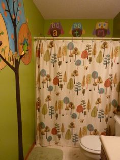 cute kids bathroom idea...  hooks on the tree for towels....LOVE THIS FOR THE TREE