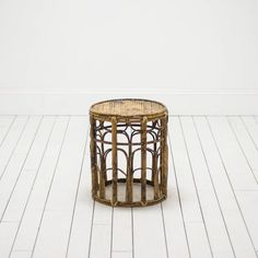 Modern Rattan Stool | Wicker Plant Stand | Bohemian Table l Birch & Brass Vintage Rentals | Weddings and Corporate Events | Austin, Texas