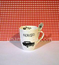Taza mug con cuchara - Autos Antigüos