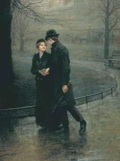 'Garden of Eden', 1901 by Briton Riviere (1840-1920). Who cares about the weather when you're in love?