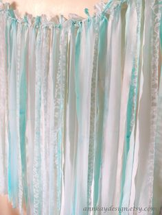 Fabric Backdrop Rag Streamer Garland with Mint to hang across front of garage. Staple to fascia board and done. Ribbon Backdrop, Fabric Backdrop, Diy Backdrop, Fabric Bunting, Backdrops, Rag Garland, Ribbon Garland, Baby Shower Backdrop, Boy Baby Shower Themes