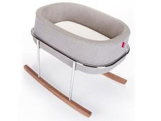 Shop the Monte Design Rockwell Modern Heather Grey Chrome Walnut Bassinet Rocker and other Cribs & Bassinets at Kathy Kuo Home Modern Baby Furniture, Modern Crib, Nursery Modern, Modern Nurseries, Girl Nurseries, Children Furniture, Furniture Design, Baby Bassinet, Cribs