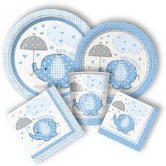 Umbrellaphants Boy Party Supplies - http://www.discountpartysupplies.com/special-events/baby-showers/elephant-baby-shower-supplies-boy