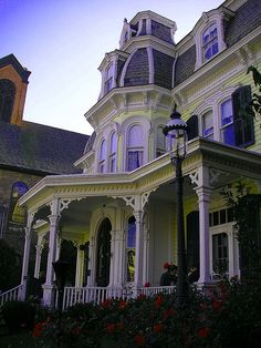 A Wizard Tea Shoppe by Lisa Kettell, via Flickr. Lacy look, purple and yellow with white trim