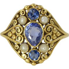 Frank G. Hale. 18Kt gold ring with Montana Sapphires and Pearls @shoprubylux #DruckerAntiquesInc #20thCentury