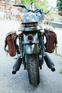 A shot of the back end  - chopped rear fender, vintage tail light and signal lights