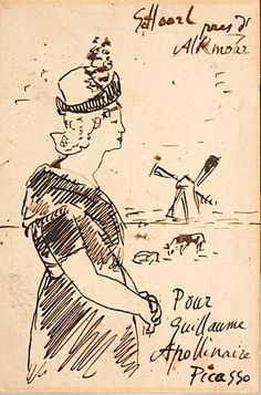 Pablo Picasso: artful mail to the poet Apollinaire, 1905 Picasso Sketches, Pablo Picasso Drawings, Picasso Art, Georges Braque, Dadaism Art, Moleskine, Learn To Sketch, Envelope Lettering, Artist Sketchbook