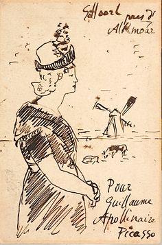 P. Picasso - Carte postale avec dessin, à Apollinaire, 1905