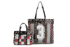 Volley Bags by Carmina Campus. Volley net, vintage scarves, gun holster straps.