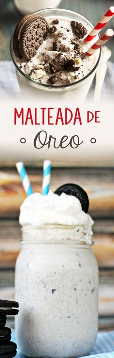 Malteada de Oreo y Nutella - oreo - design mit eis rezept rezept einfach recipe milchshake Yummy Drinks, Delicious Desserts, Dessert Recipes, Yummy Food, Kitchen Recipes, Cooking Recipes, Diy Food, Cooking Time, Sweet Recipes