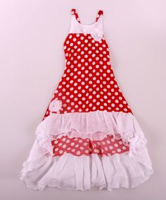 Red & White Polka Dot Hi-Low Dress - Toddler & Girls