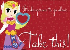 Princess Zelda Valentine - Video Game Heart Containers: Printable Video Game Valentine's Day Cards