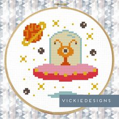 Alien Stars Planet Modern Cross Stitch Pattern PDF by VickieDesigns on Etsy