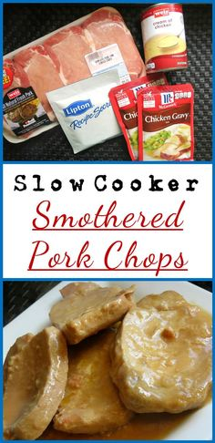 These Smothered Pork Chops are incredible! It's a Slow Cooker Recipe with just a few ingredients so it's great if you're on the go.