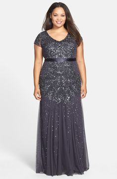 Charcoal Shimmer Long Adrianna Papell Bridesmaid Dress - Beaded V-Neck Gown