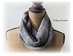 Infinity scarf  gray and black flannel  loop scarf  by UrbanScarfs