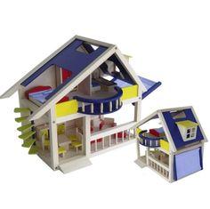 Charl's Design Toys Houten poppenhuis met balkon en luifel