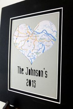 Personalized Heart Map Matted Gift - Housewarming Gift