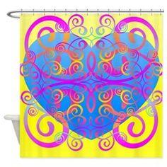 Love Swirls Shower Curtain $45 #Bath #decor #homedecor