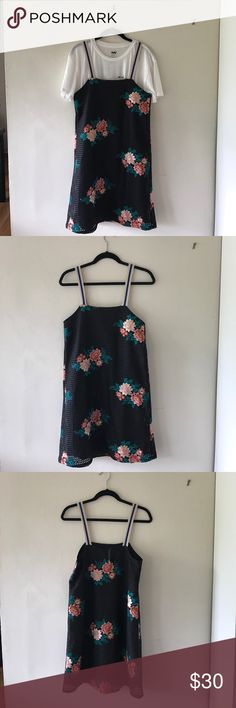 "Zara Trafaluc AW 16/17 Embroidered Dress It's meant to be worn over a t-shirt or a long sleeve. Fully lined and the embroidery is sewn on. It's a really cool contrast of elegant and casual. Never worn. Strap length - 7.5"" Strap to hem length - 36.5"" Zara Dresses"