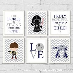 Star Wars Boy Nursery Decor. Han Solo Darth Vader AtAt. Navy Gray Boy Room Decor Art Print. The Force Is Strong With This One. Item No.: 162