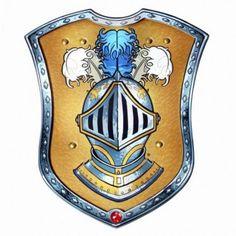 Scudo Cavaliere NOVITA'  Elegante scudo di foam azzurro e dorato, con una riproduzione di un Rubino e disegno del casco di un'elegante armatura.