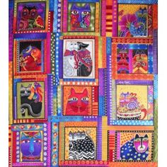 Wall Hanging Quilt in Laurel Burch Fanciful Felines Hanging Quilts, Quilted Wall Hangings, Cotton Crafts, Fabric Crafts, Laurel Burch Fabric, Cat Quilt, Horse Quilt, Cat Fabric, Panel Quilts