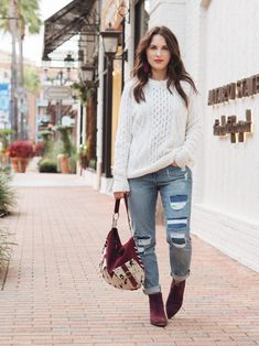 cable knit sweater thanksgiving look