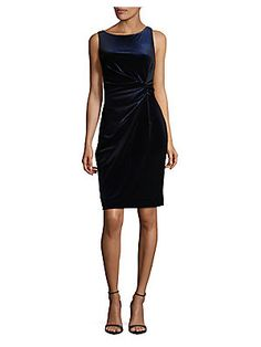 Calvin Klein Velvet Sheath Dress In Dark Blue Black Front Design, Lord & Taylor, Sheath Dress, Polyester Spandex, Dark Blue, Calvin Klein, Velvet, Model, How To Wear