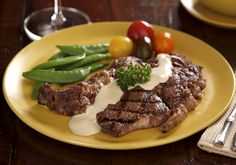 ... Cave Cheese - Grilled Ribeye Steak with Onion Blue Cheese Sauce