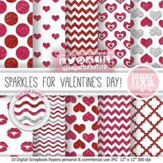Valentine's day Digital Paper, Glitter, love Background, hearts, hot pink, red, fuchsia, chevron, kisses, polka dots cupid for blog
