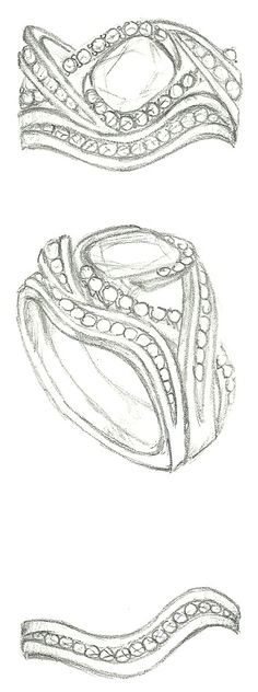 Mark Schneider Design sketch of Scintillate engagement ring customized to hold a…