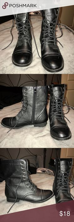 Black combat boots Worn a few times—selling for my sister who grew out of them. Minor scuffs on the toes that I can easily make go away if purchased/requested. Open to offers! Wet Seal Shoes Combat & Moto Boots