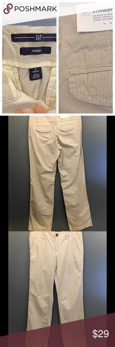 Gap trouser cut pants Light pin stripping in brown and tan. Light summer weight fabric. Can be casual or more dressed up. New with tags, never worn. Regular straight leg. Gap Pants
