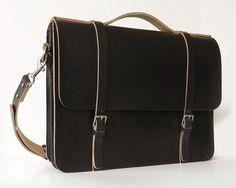 basader: Black Leather Messenger Bag Laptop Bag -Women's, Men's. $280.00, via Etsy.