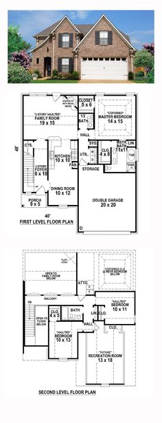 French Country House Plan 48593 | Total Living Area: 1810 sq. ft., 3 bedrooms and 2.5 bathrooms. #frechcountryhome