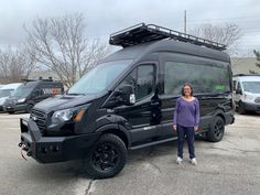 Juanita recently picked up her custom DO rig with his is decked out with front and rear bumper sets, roof, roof rack with light bars, & tires with rims. Ford Transit Roof Rack, Ford Transit Campervan, Custom Camper Vans, Custom Vans, Class B Camper Van, Rv Financing, Used Vans, Ford 4x4, Sprinter Van