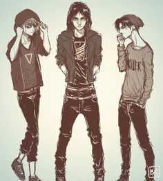 Fan-art of Shingeki No Kyojin <<< This looks like the beginning to a rap video.......<<<< or the album cover of a boy band XD
