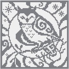 Spirit Owl Charts by Melanie Nordberg. Available as square chart for cross stitch stitches), filet crochet etc. and as knitting chart stitches). Cross Stitch Owl, Cross Stitch Animals, Cross Stitch Charts, Cross Stitch Designs, Cross Stitching, Cross Stitch Embroidery, Cross Stitch Patterns, Celtic Cross Stitch, Filet Crochet Charts