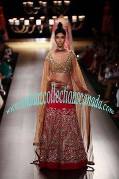 Gold And Red Manish Malhotra Silk Wedding Lehenga