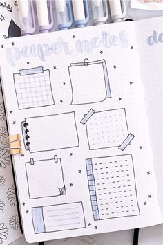 Want to add some fun doodles to your bullet journal! Check out these super cute paper note doodle tutorials for inspiration! Bullet Journal Boxes, Bullet Journal Aesthetic, Bullet Journal Notebook, Bullet Journal School, Bullet Journal Ideas Pages, Bullet Journal Inspo, Note Doodles, Bujo Doodles, Note Paper
