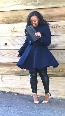 great blue trench and leather leggings. A Thick Girl's Closet