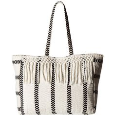 Amuse Society Salina Beach Tote Bag (Casa Blanca) Tote Handbags ($54) ❤ liked on Polyvore featuring bags, handbags, tote bags, structured tote, white purse, white tote bag, cotton tote bags and beach bag