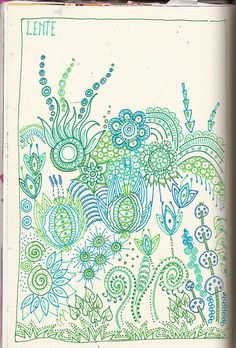 Zentangle- inspired doodle in blues and green (pen). Tangle Doodle, Tangle Art, Zen Doodle, Doodle Art, Zentangle Drawings, Doodles Zentangles, Zentangle Patterns, Doodle Drawings, Organic Forms