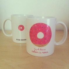 Pink donuts mug by Susie creativa I Love Fashion, Donuts, Illustration, Graphic Design, Mugs, Tableware, Artwork, Pink, Handmade